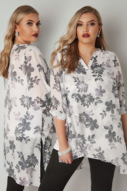 Plus Size Day Tops White, Purple & Grey Floral Print Layered Blouse With Notch Neck & Dipped Hem