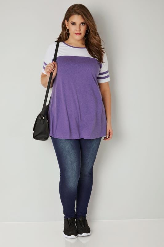 White & Purple Jersey Colour Block Top With Short Sleeves