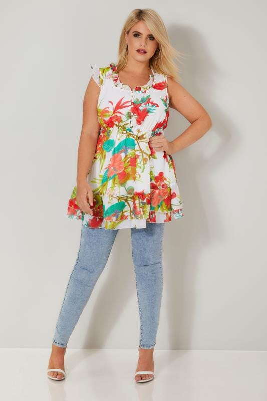 White & Red Floral Longline Top With Frilled Details & Elasticated Waist