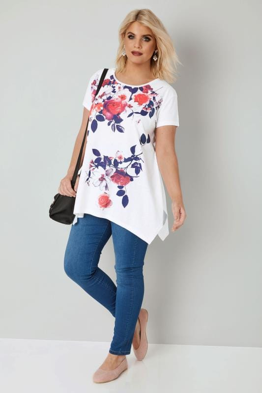 White Rose Print T-Shirt With Hanky Hem