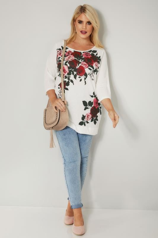 White Rose Print Top With Cross Over Back