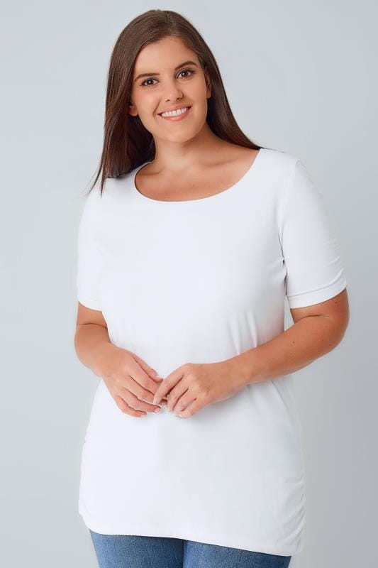 Plus Size T-Shirts White Ruched Side T-Shirt With Ruched Short Sleeves
