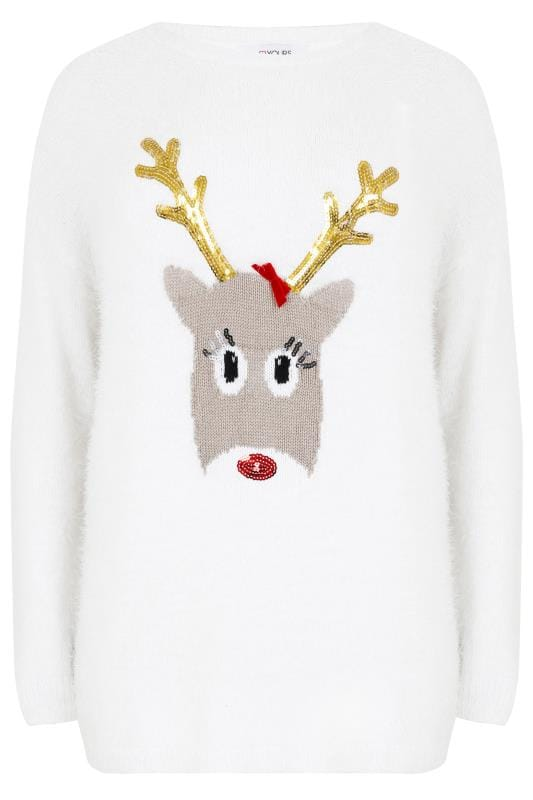 Pulls White Christmas Rudolph Reindeer Novelty Sequin Detail Eyelash Jumper 124143