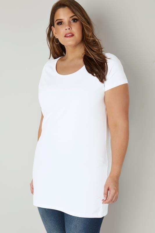 Plus Size T-Shirts White Scoop Neck Longline Jersey T-Shirt