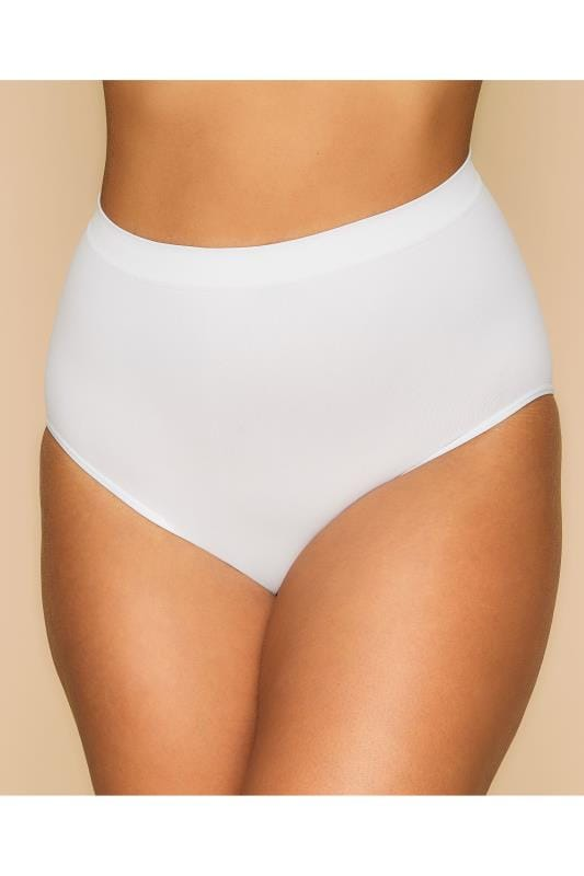 Plus Size Plus Size Shapewear White Seamless Light Control Brief