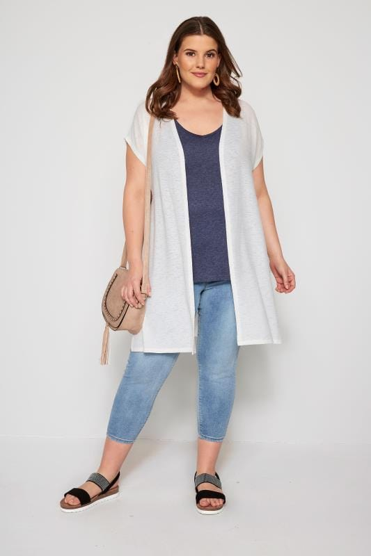 White Short Sleeve Cardigan