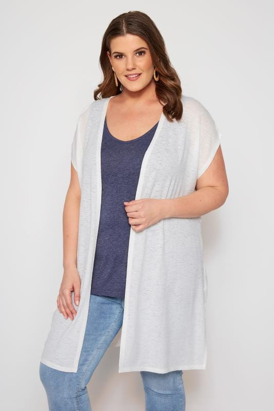 Plus Size Cardigans White Short Sleeve Cardigan