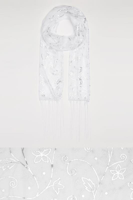 White & Silver Foil Floral Print Shimmer Scarf