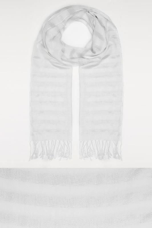 White & Silver Metallic Thread Striped Oversized Scarf