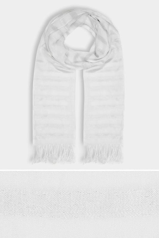 Plus Size Scarves White & Silver Metallic Thread Striped Oversized Scarf