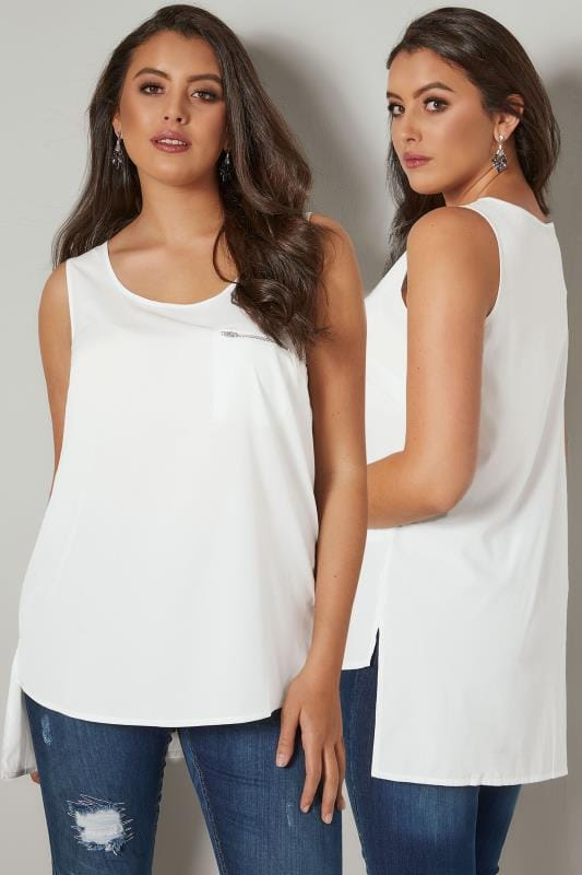 White Sleeveless Dipped Hem Top With Zip Pocket Detail