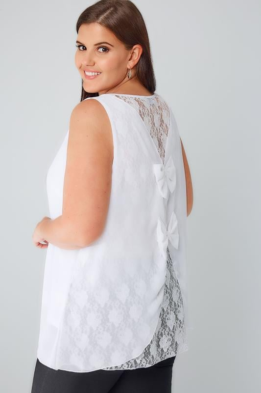 White Sleeveless Top With Lace Back & Double Bow Detail