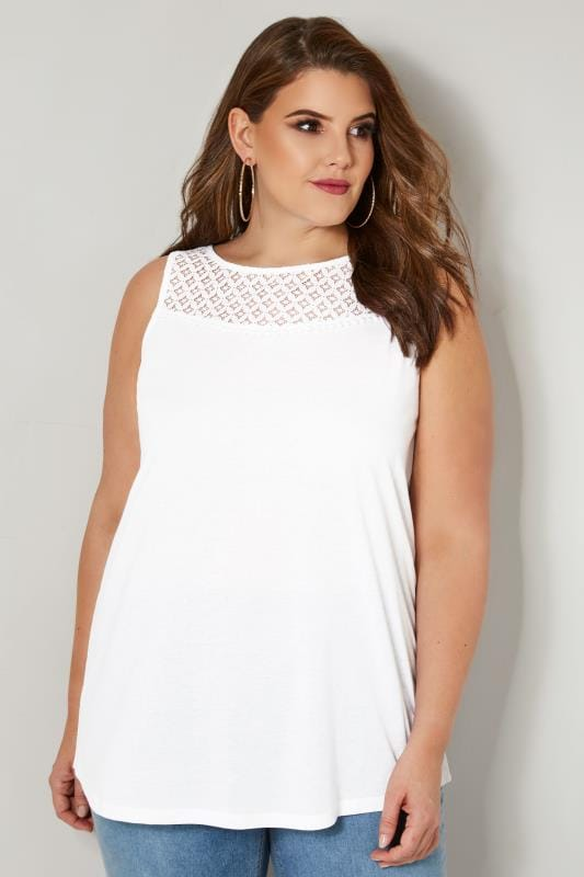 Plus Size Jersey Tops White Sleeveless Top With Lace Yoke