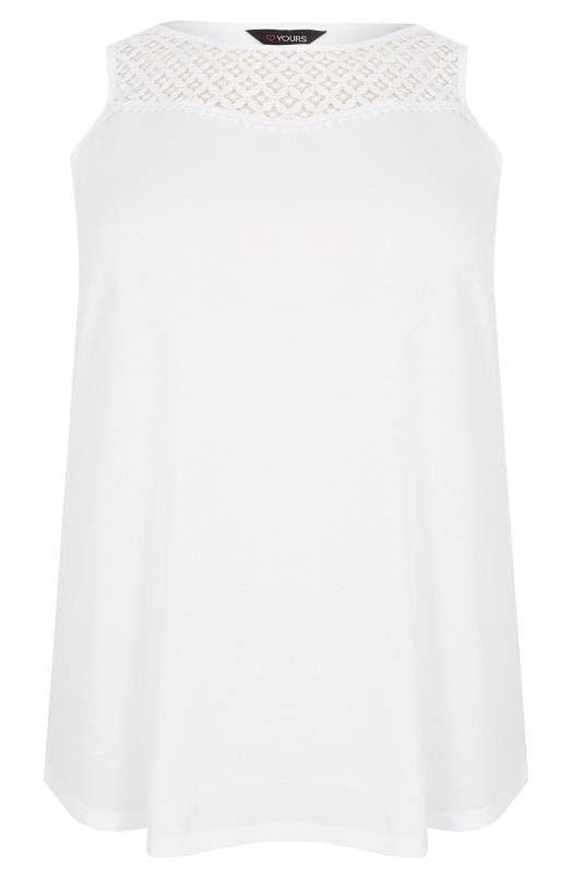 White Sleeveless Top With Lace Yoke