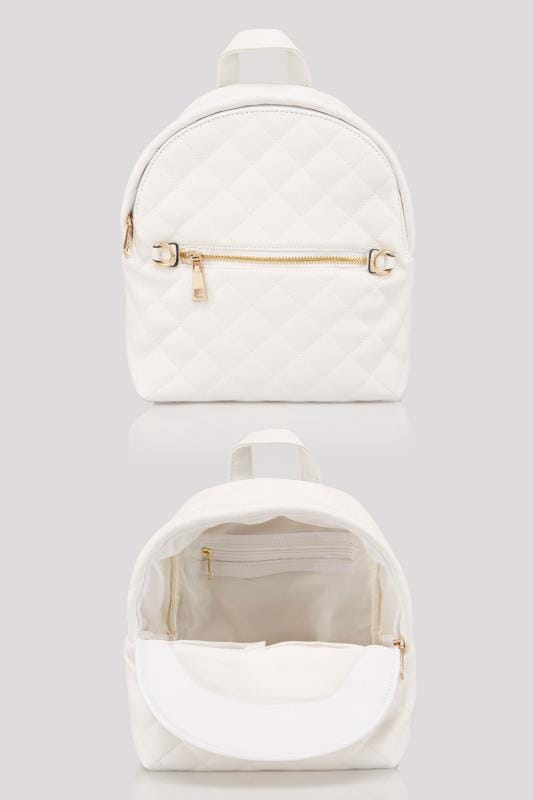 White Small Quilted Backpack