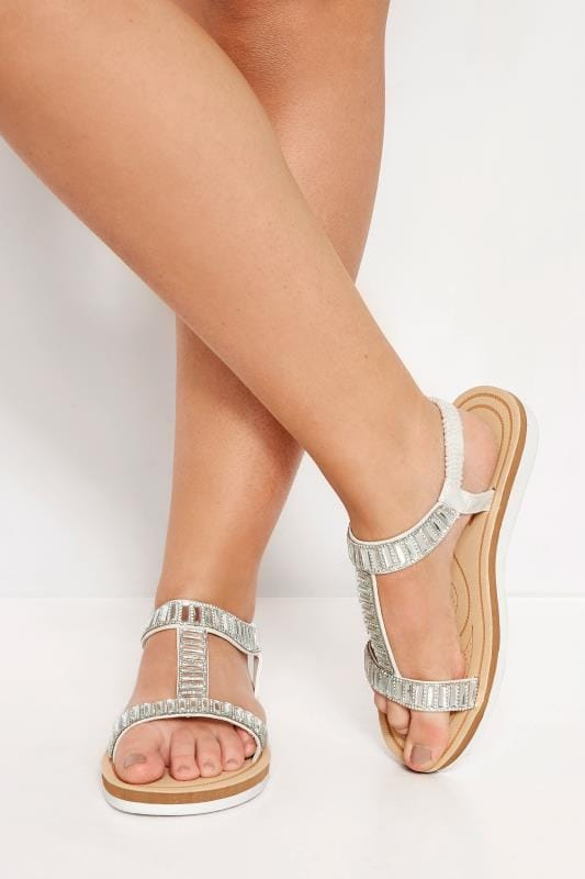 White Sparkle H-Band Sandals
