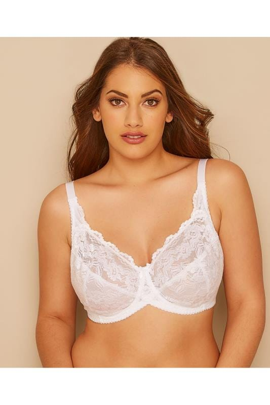 Plus Size Plus Size Wired Bras White Stretch Lace Non-Padded Underwired Bra