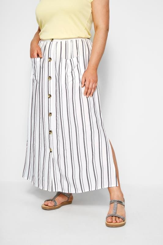 Plus Size Maxi Skirts White Stripe Button Through Maxi Skirt