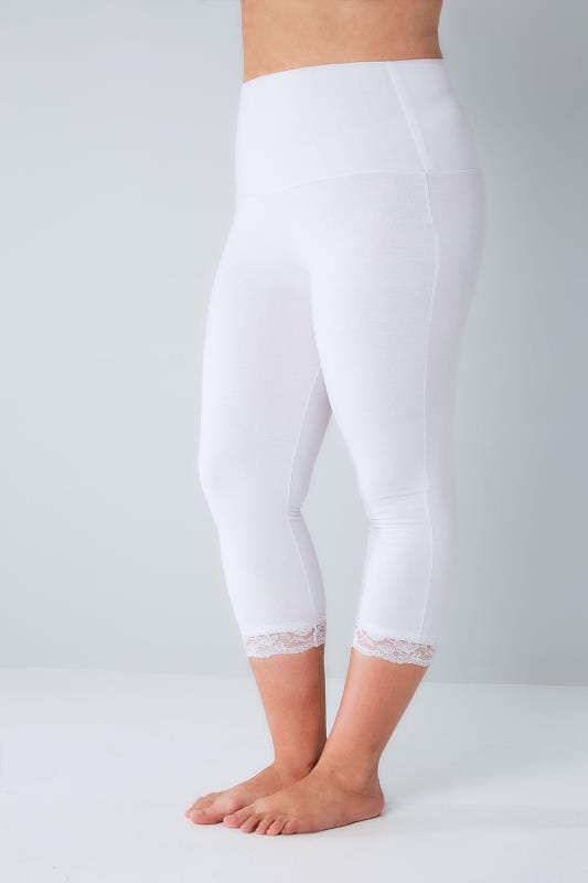 Plus Size Cropped & Short Leggings White TUMMY CONTROL Cropped Leggings With Lace Trim