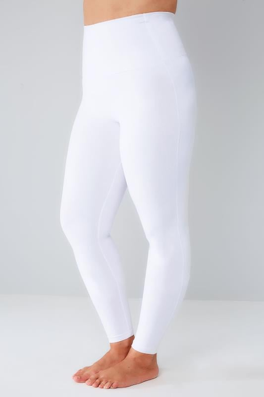 White TUMMY CONTROL Viscose Elastane Leggings