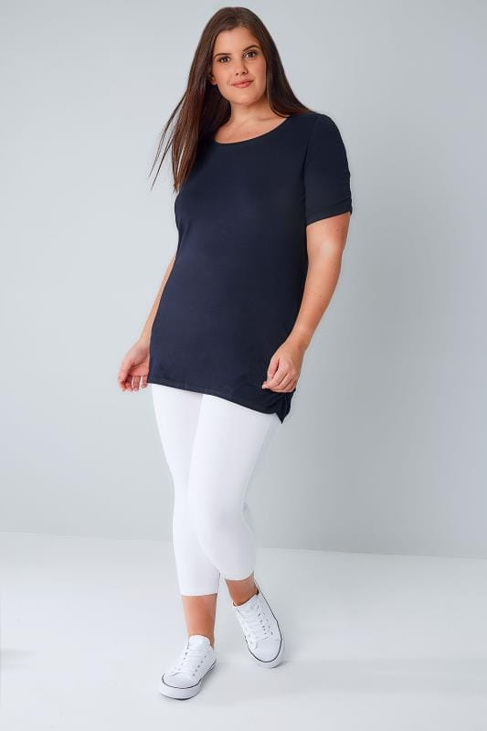 White TUMMY CONTROL Soft Touch Cropped Leggings
