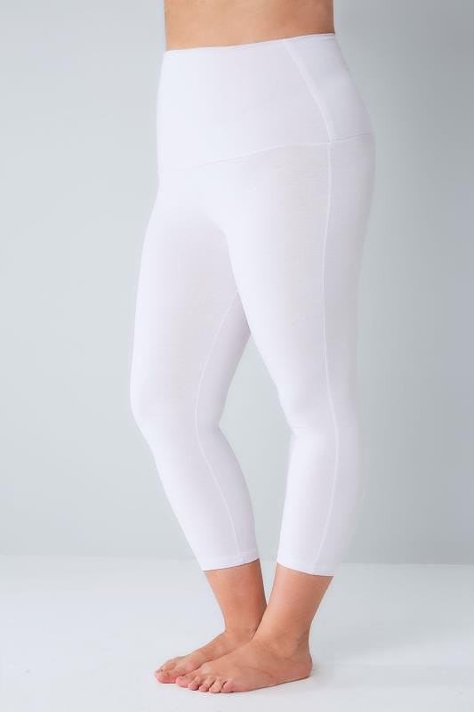 Plus Size Basic Leggings White TUMMY CONTROL Viscose Elastane Cropped Leggings