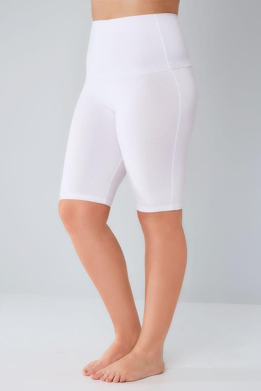 Plus Size Jersey Shorts White TUMMY CONTROL Soft Touch Legging Shorts