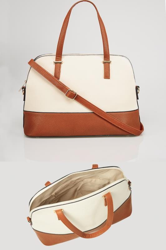 White & Tan Two Tone Tote Bag