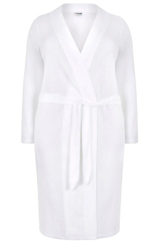 White Textured Cotton Dressing Gown With Pockets Plus Size 16 To 36