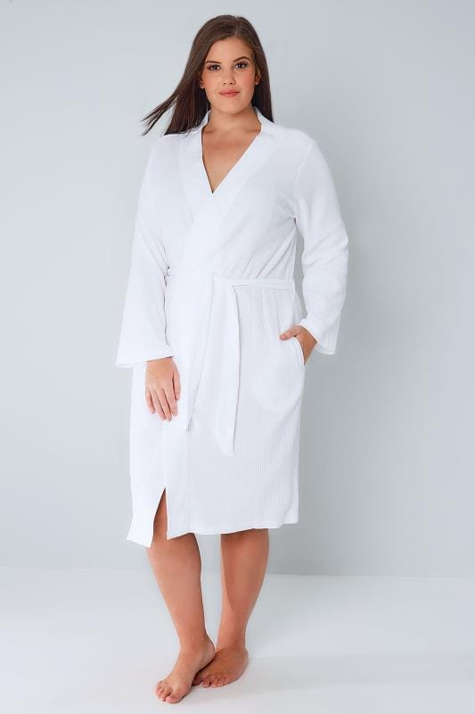 White Textured Cotton Dressing Gown With Pockets