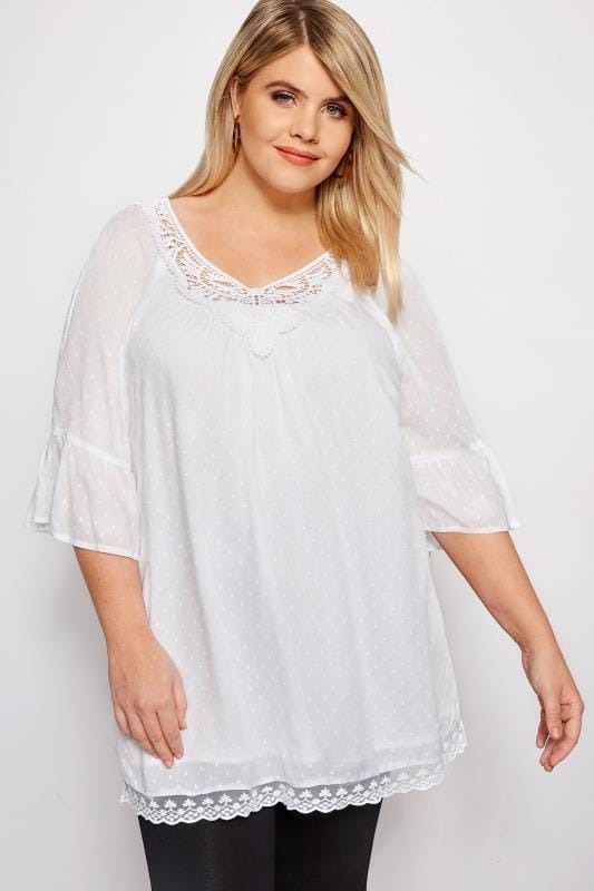 5daf32b812b Plus Size Blouses White Textured Crochet Blouse