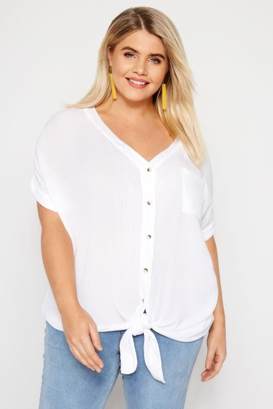 Plus Size Shirts White Tie Front Shirt