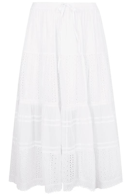 White Tiered Broderie Maxi Skirt, plus size 16 to 36