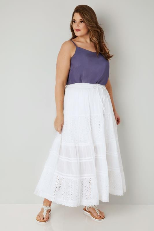 White Tiered Broderie Maxi Skirt