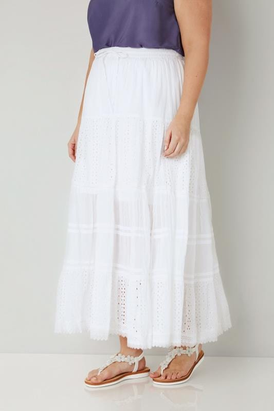 Plus Size Maxi Skirts White Tiered Broderie Maxi Skirt