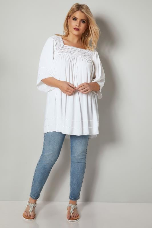 White Tipped Blouse With Crochet Neckline