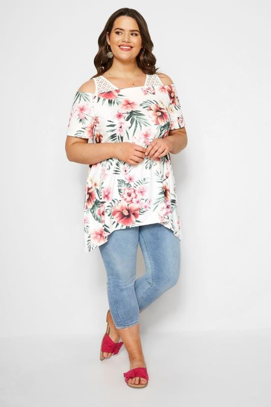 White Tropical Cold Shoulder Top