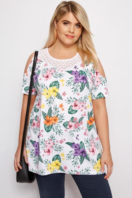 Plus Size Bardot & Cold Shoulder Tops White Tropical Floral Cold Shoulder Top