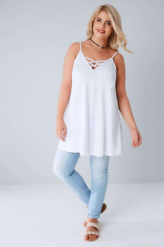 White V-Neck Longline Cami Vest Top With Cross Front Detail