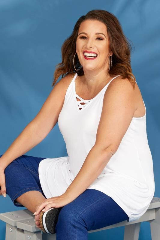 Plus Size Vests & Camis White V-Neck Vest Top With Cross Front Detail