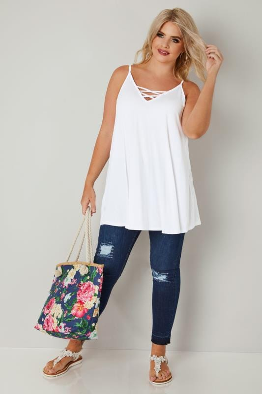 White V-Neck Vest Top With Cross Front Detail