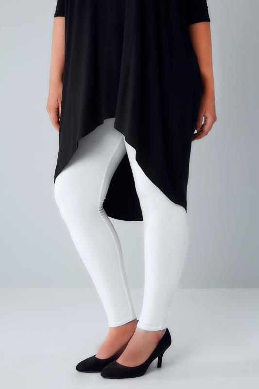 Plus Size Basic Leggings White Viscose Elastane Leggings