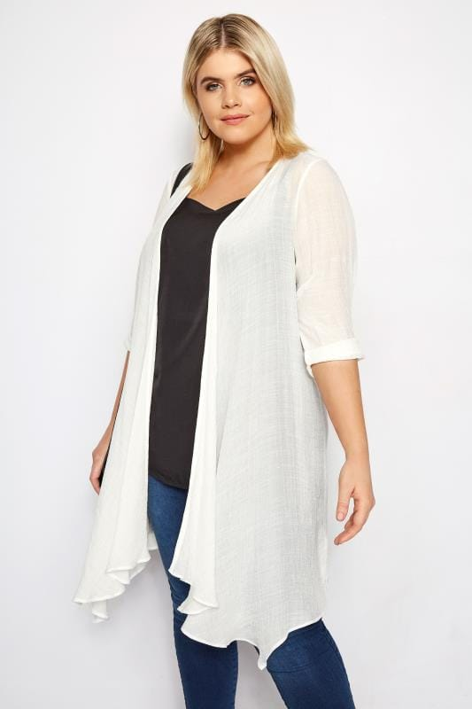Plus Size Cover Ups White Waterfall Cover Up
