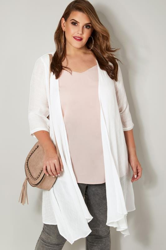 Plus Size Cardigans White Woven Cardigan With Waterfall Front