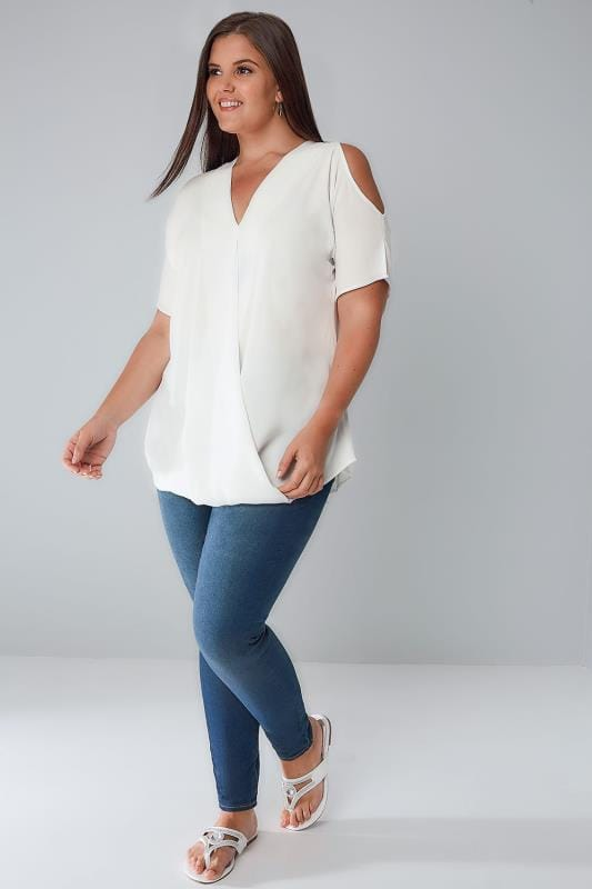 White Wrap Front Top With Cold Shoulder Cut Outs