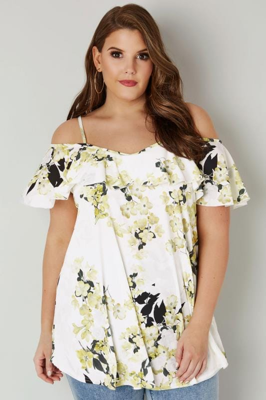 Plus Size Bardot & Cold Shoulder Tops White & Yellow Floral Print Frill Cold Shoulder Top