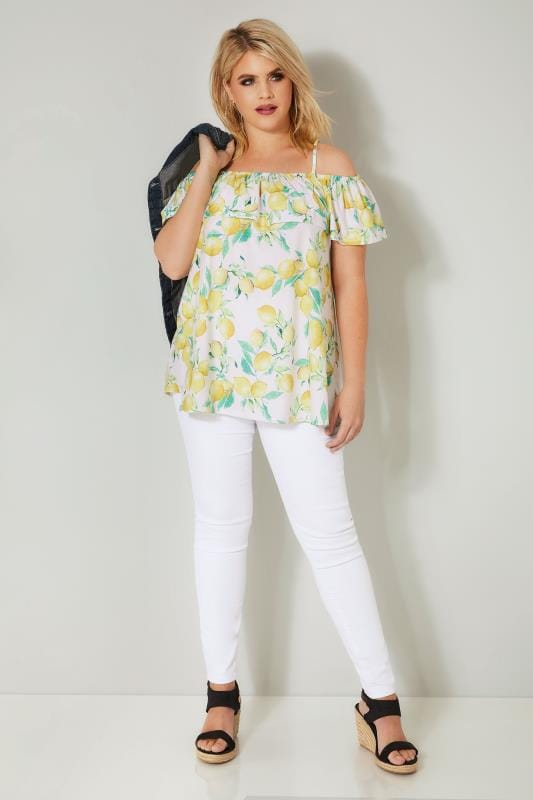 White & Yellow Lemon Print Frill Bardot Top