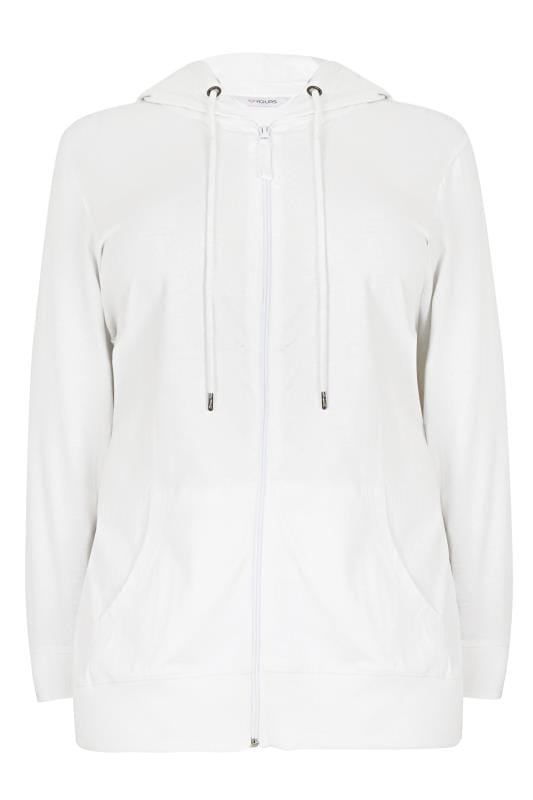 Plus Size Hoodies & Jackets White Zip Through Cotton Hoodie