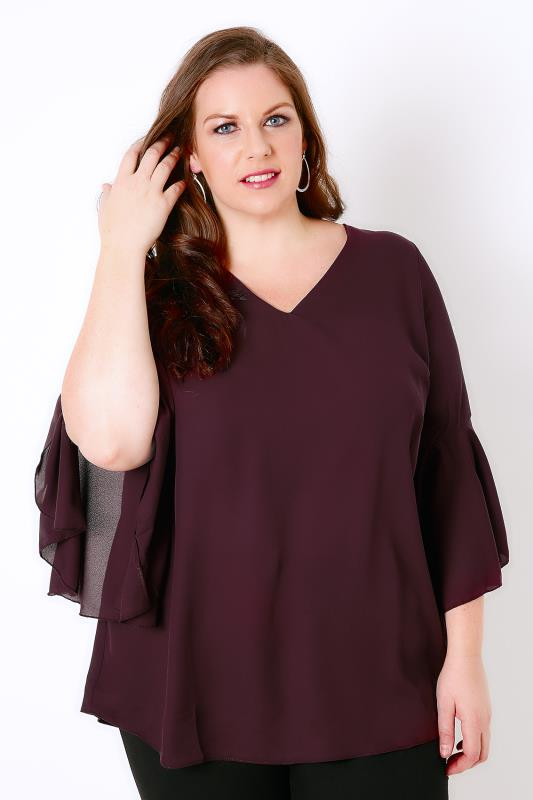 Wine Blouse With Bell Sleeves