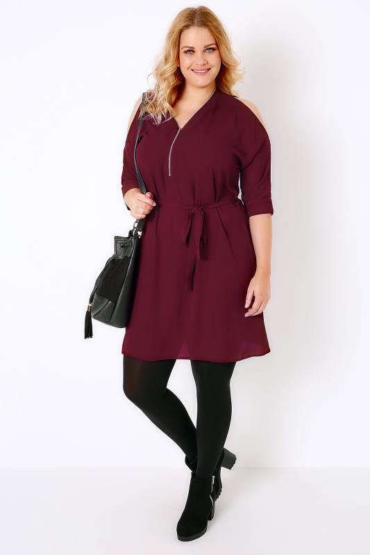 Wine Cold Shoulder Shirt Dress With Zip Front Detail Plus